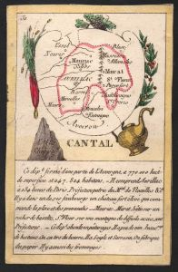 Cantal - Aurillac Cantal Frankreich France playing card carte a jouer Spielkarte Kupferstich copper engraving