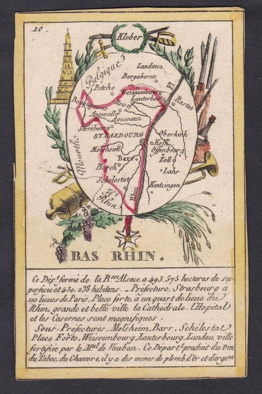 Bas Rhin - Strasbourg Bas Rhin Frankreich France playing card carte a jouer Spielkarte Kupferstich copper engr