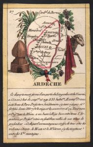 Ardeche - Privas Ardeche Frankreich France playing card carte a jouer Spielkarte Kupferstich copper engraving