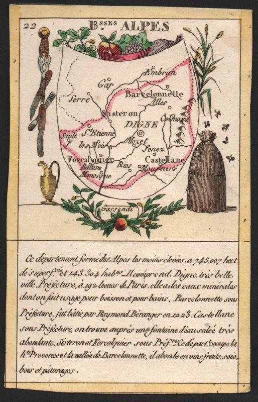 B.sses Alpes - Digne Alpes-de-Haute-Provence Frankreich France playing card carte a jouer Spielkarte Kupfersti