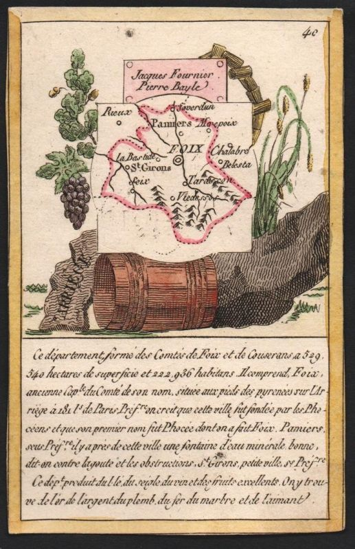 Arriege - Foix Arriege Frankreich France playing card carte a jouer Spielkarte Kupferstich copper engraving an