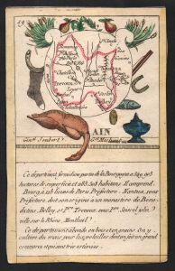 Ain - Bourg Ain Frankreich France playing card carte a jouer Spielkarte Kupferstich copper engraving antique p