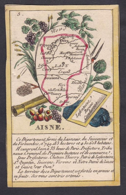 Aisne - Laon Aisne Frankreich France playing card carte a jouer Spielkarte Kupferstich copper engraving antiqu