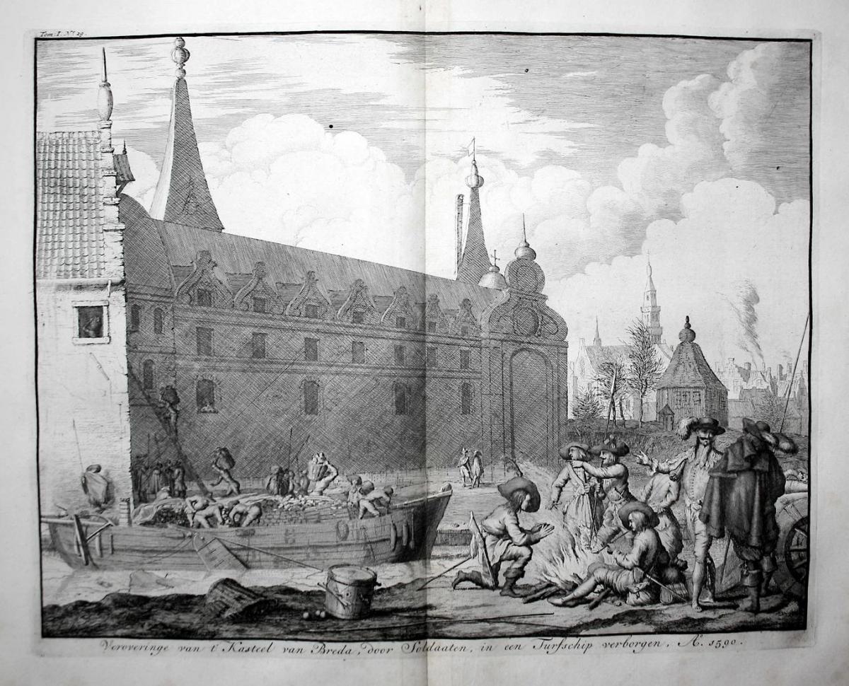 Veroveringe van t'Kasteel van Breda, door Soldaaten, in een Furfschip verborgen, A. 1590 - Breda Holland Neder