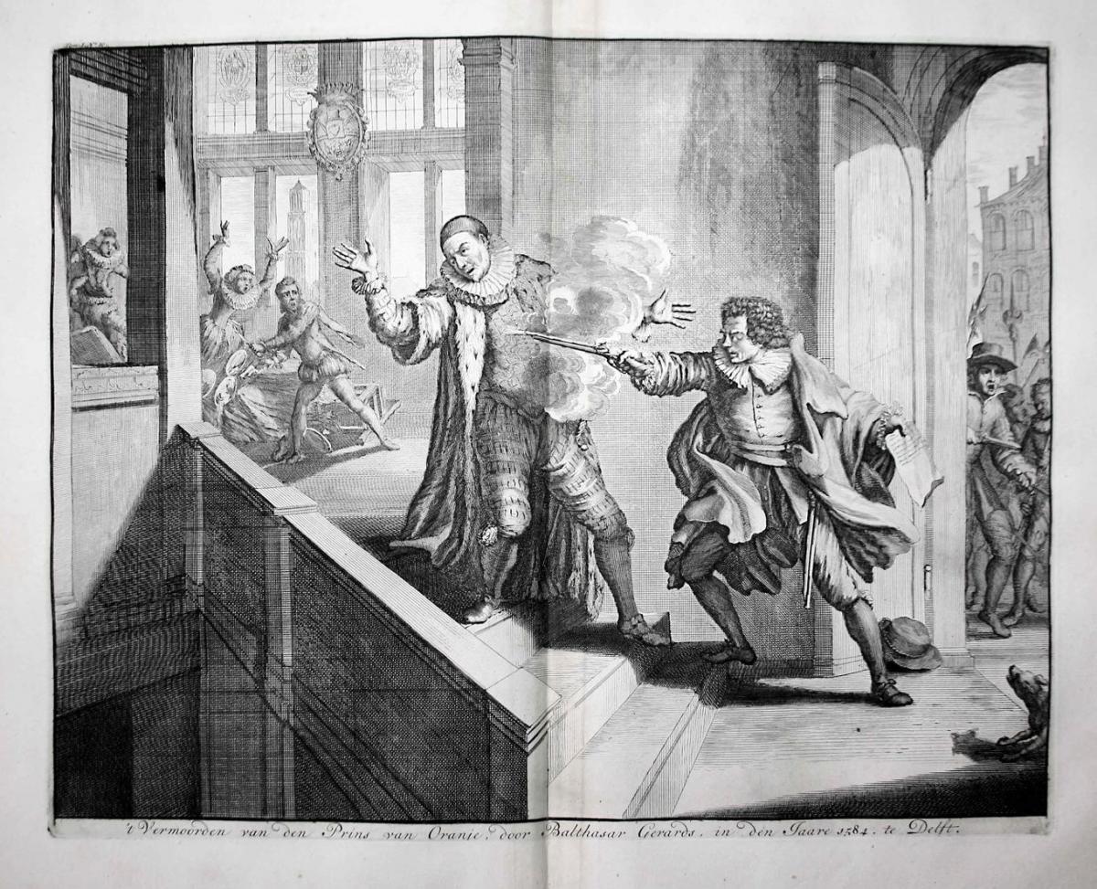 't Vermoorden van den Prins van Oranje, door Balthasar Gerards, in den Jaare 1584. te Delft - Wilhelm I. Orani
