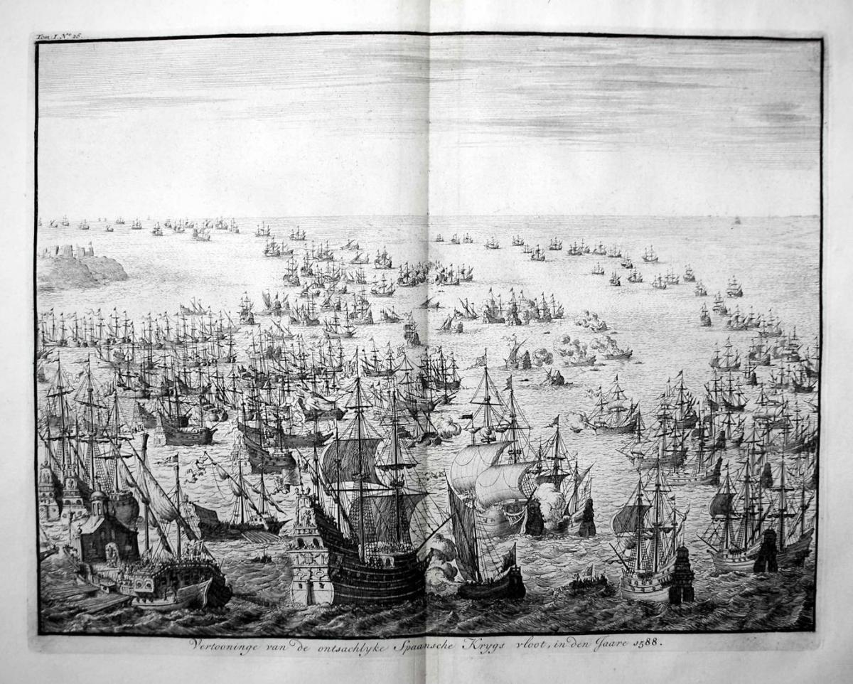 Vertooninge van de ontsachlyke Spaansche Krygs vloot, in den Jaare 1588 - Spanische Armada Spanish Naval ships