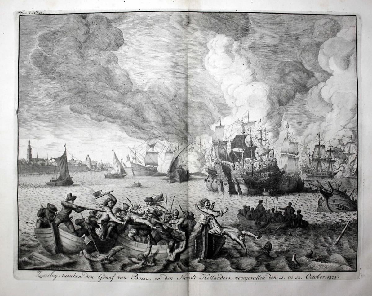 Zeeslag, tusschen den Graaf van Bossu, en den Noordt Hollanders, voorgevallen den 11. en 12. October, 1573 - N