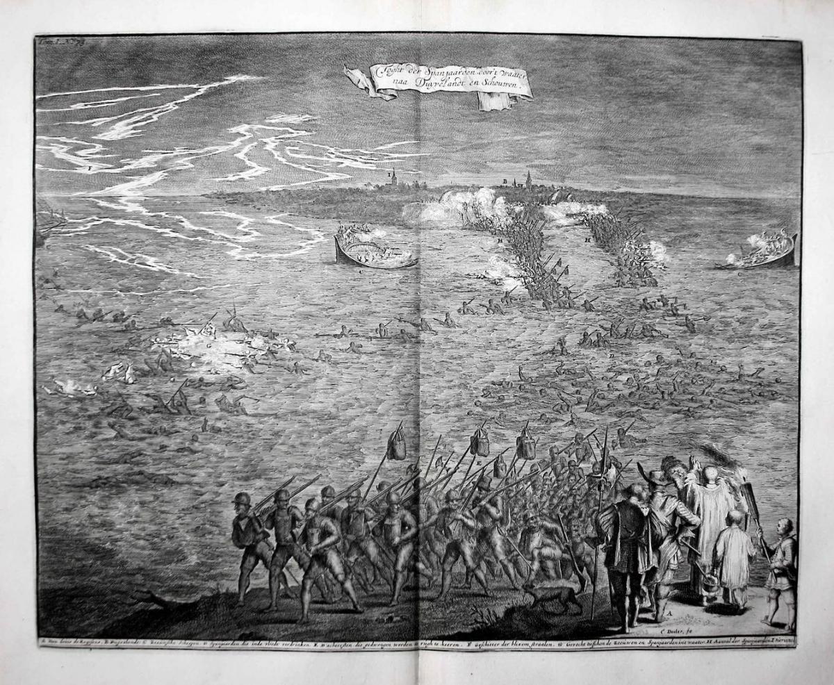 Toght der Spanjaarden, door't Waater naa Duyrelandt en Schouwen - Schouwen-Duiveland Holland Zeeland war gravu