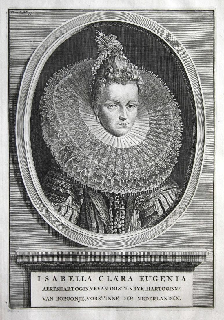 Isabella Clara Eugenia - Isabel Clara Eugenin de Austria Spanien Königin Portrait Kupferstich engraving antiqu