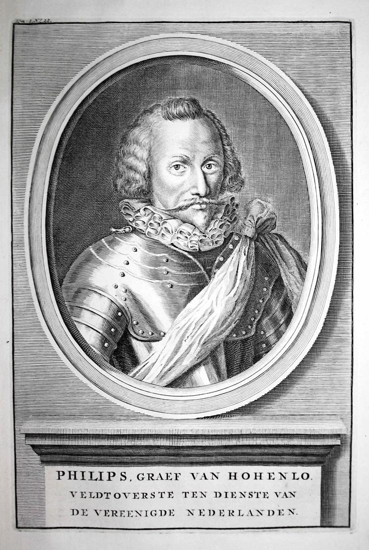 Philips, Graef van Hohenlo - Philipp Graf zu Hohenlohe Neuenstein Langenburg Holland Portrait Kupferstich engr