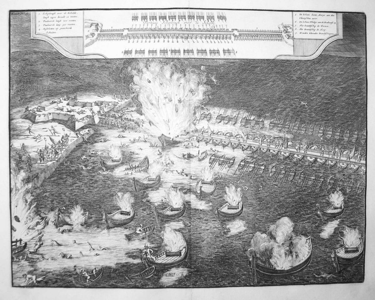 Parmaas Schipbrugh over de Schelde - Antwerpen Anvers Schelde Brander fire ships naval battle gravure Kupferst