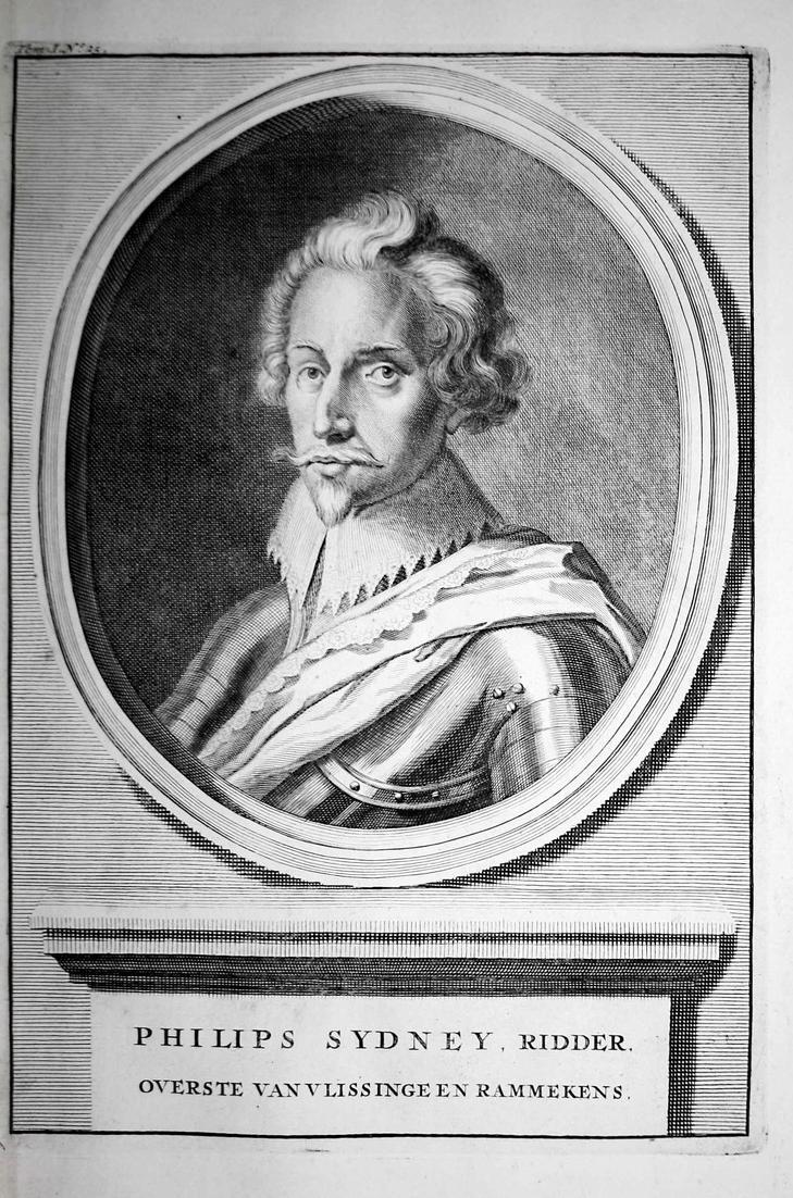 Philips Sydney, Ridder - Philip Sidney Poet England Dichter Schriftsteller Portrait Kupferstich engraving anti