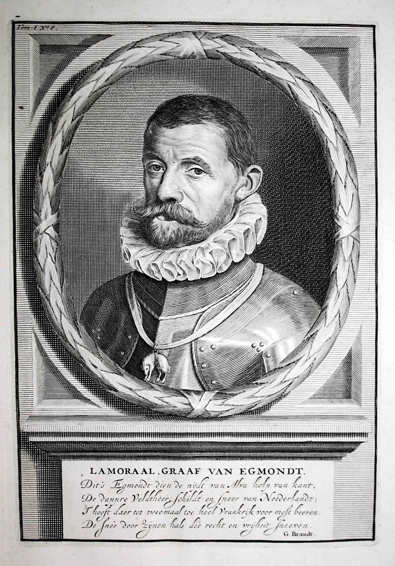 Lamoraal, Graaf van Egmondt - Lamoral von Egmund Flandern Artois Vlaanderen Portrait Kupferstich engraving ant