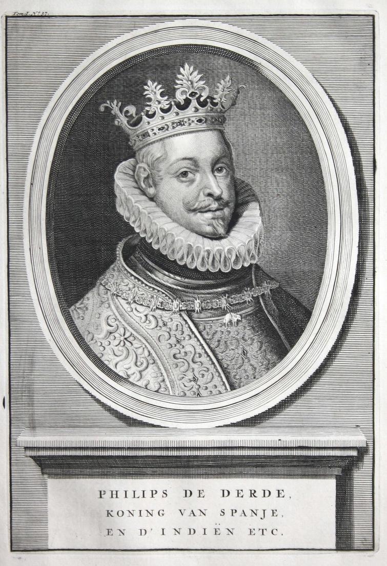 Philips de Derde - Philipp III. Spanien Felipe Espana Portugal König Portrait Kupferstich engraving antique pr