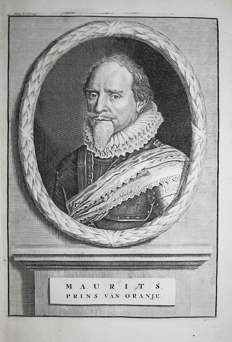 Maurits - Moritz von Oranien Nassau Dillenburg Holland Portrait Kupferstich engraving antique print