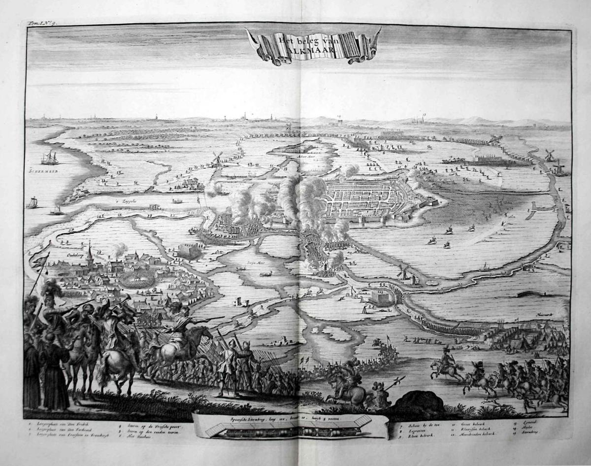 Het beleg van Alkmaar - Alkmaar Siege Beleg Belagerung Holland gravure Kupferstich engraving antique print