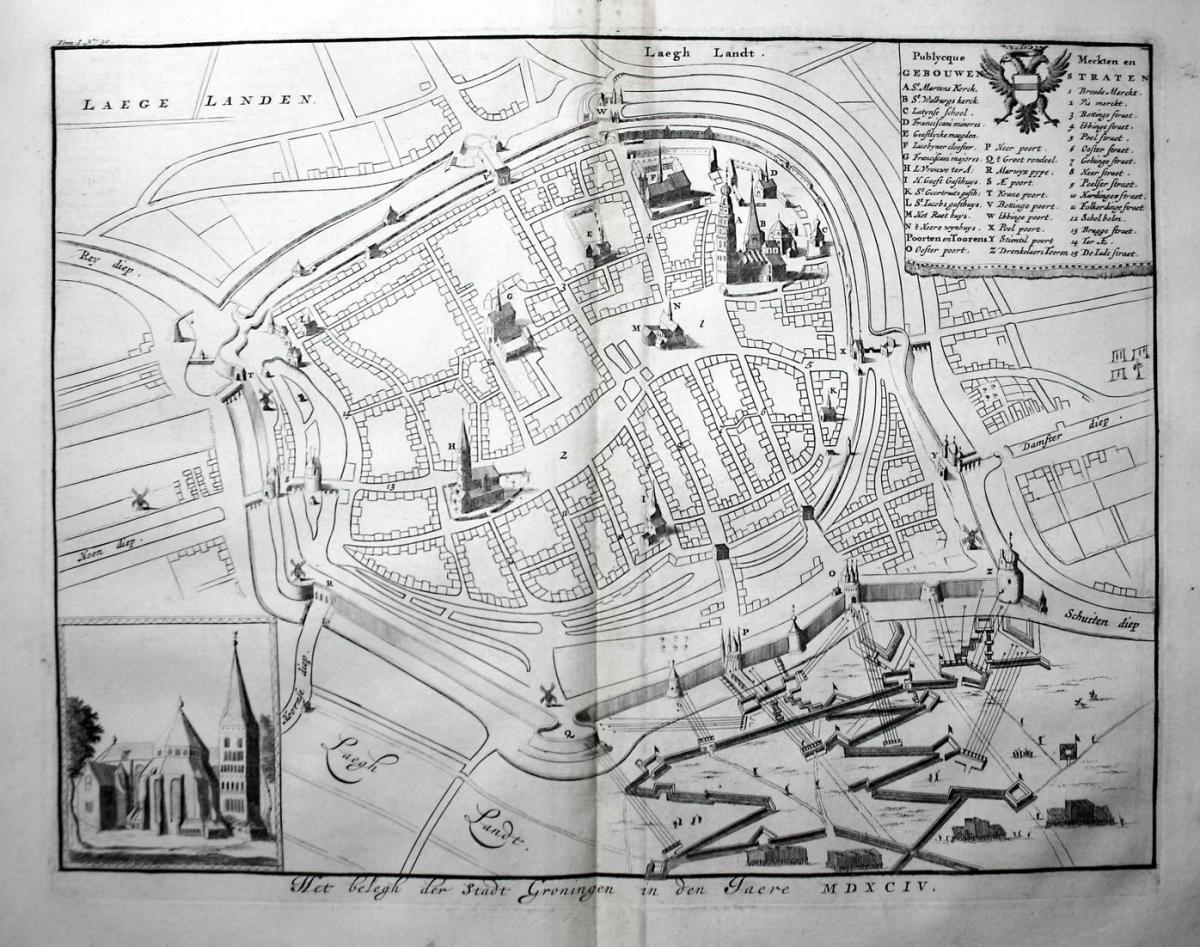 Het belegh der Stadt Groningen in den Jaere MDXCIV - Groningen Plan Holland Nederland gravure Kupferstich engr