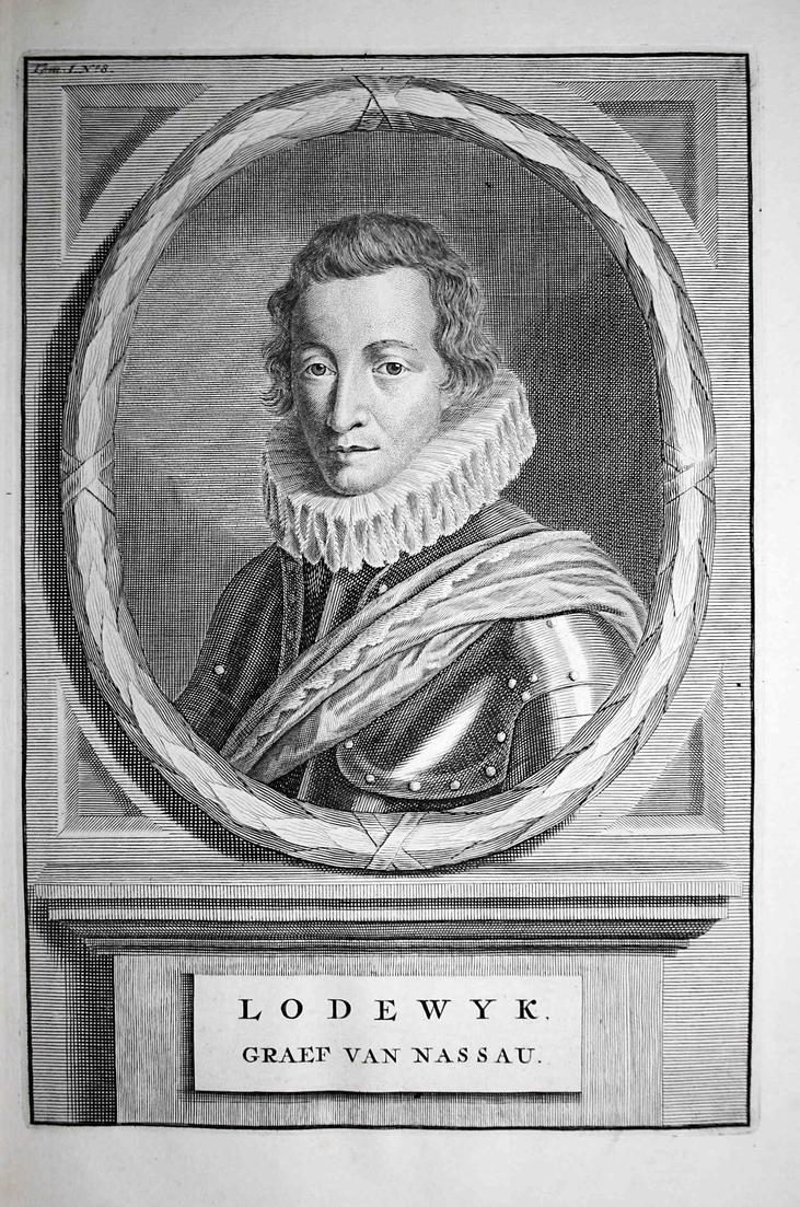 Lodewyk, Graef van Nassau - Ludwig Günther von Nassau Katzenelnbogen Generalleutnant Portrait Kupferstich engr