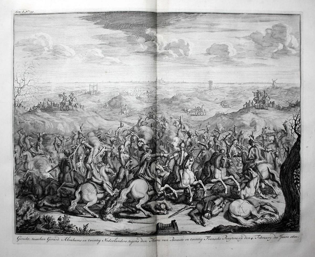 Gevecht, tusschen Gerard. Abrahams en twintig Nederlanders, tegens den Heere van Breaute en twintig Fransche R