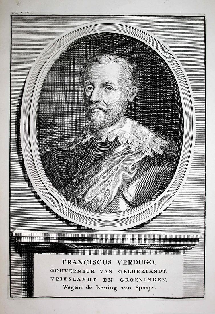 Franciscus Verdugo - Francisco Verdugo Holland Spain Espana Portrait Kupferstich engraving antique print