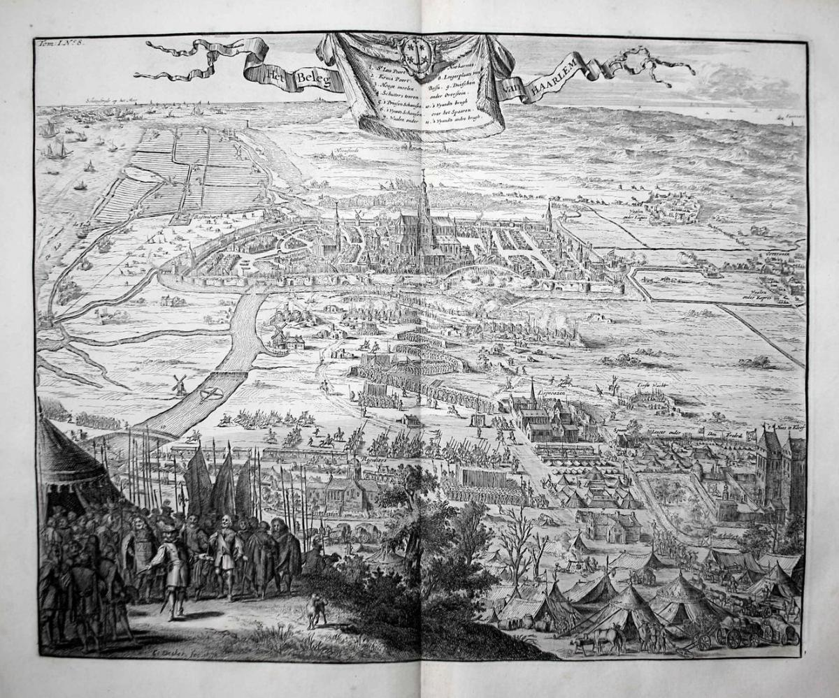 Het Beleg van Haarlem - Haarlem Holland Nederland Siege Belagerung gravure Kupferstich engraving antique print