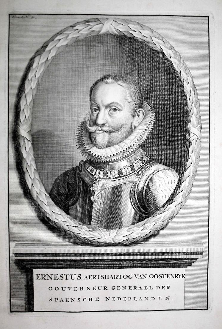 Ernestus, Aertshartog can Oostenryk - Ernst von Österreich Holland Erzherzog Portrait Kupferstich engraving an