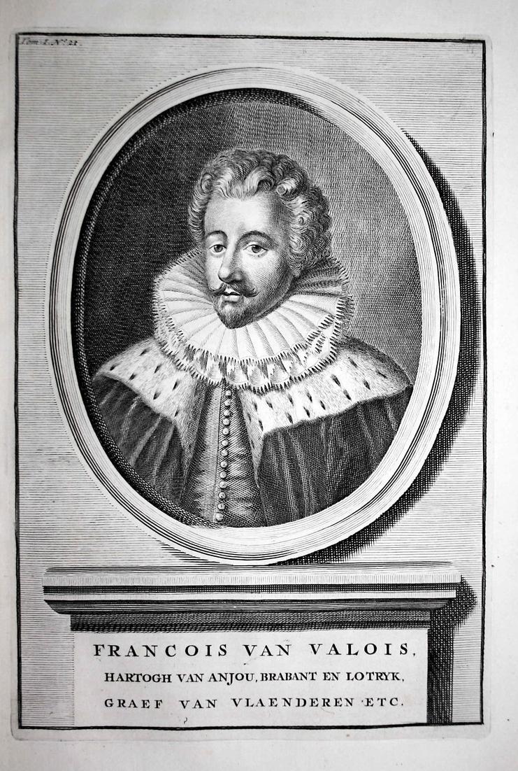 Francois van Valois - Francois de Valois Anjou Brabant Lorraine France Portrait Kupferstich engraving antique