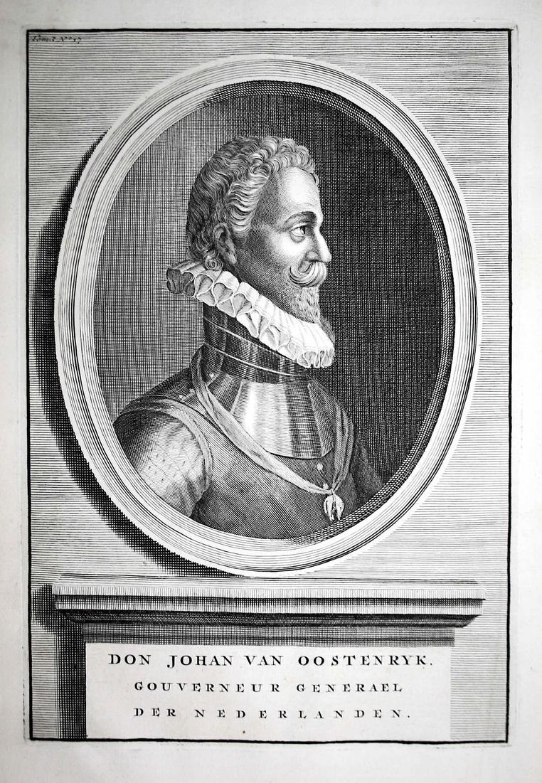 Don Johan van Oostenryk - Juan de Austria Espana Spain Spanien Holland Portrait Kupferstich engraving antique