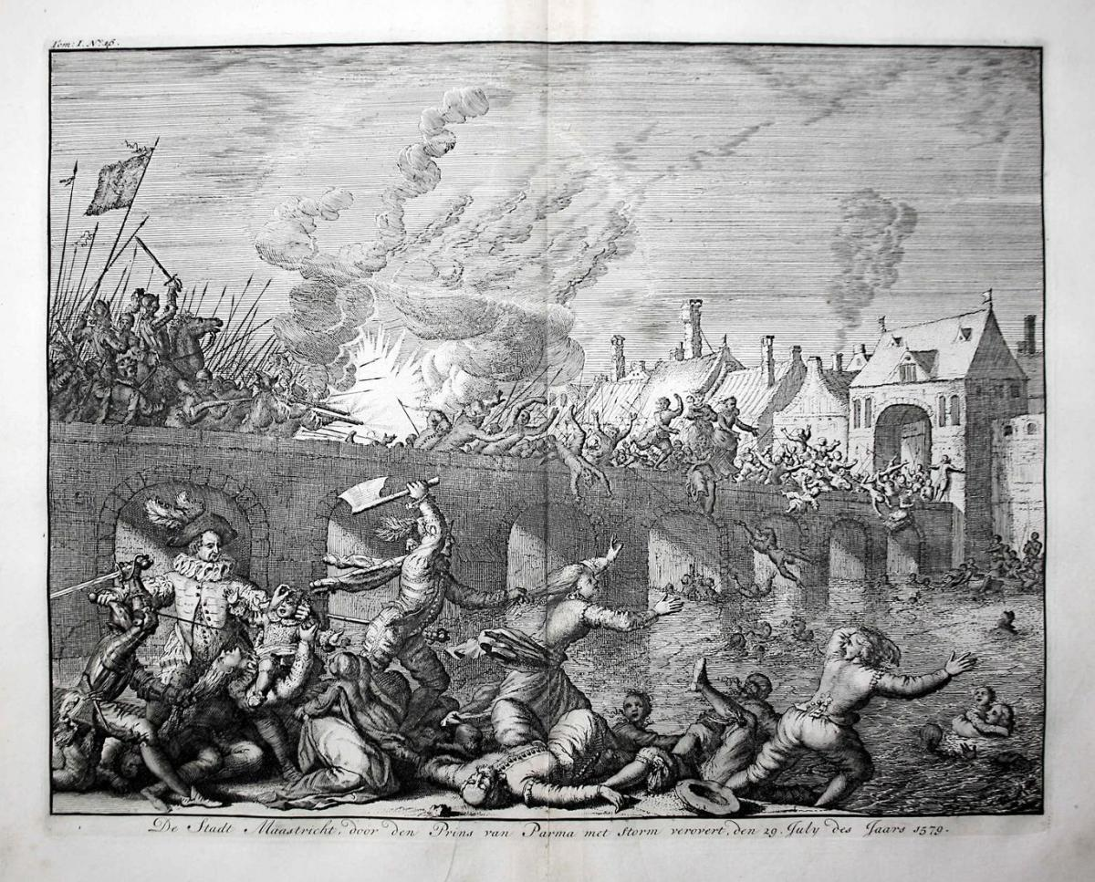 De Stadt Maastricht, door den Prins van Parma met Storm verovert, den 29 July des Jaars 1579 - Maastricht Holl