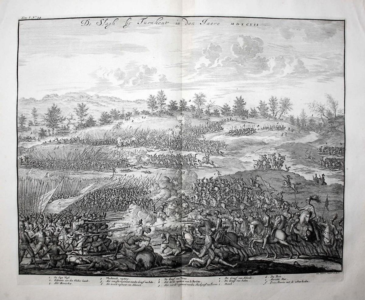 De Slagh by Turhout in den Jaere MDXCVII - Battle of Turnhout 1597 Schlacht bataille gravure Kupferstich engra