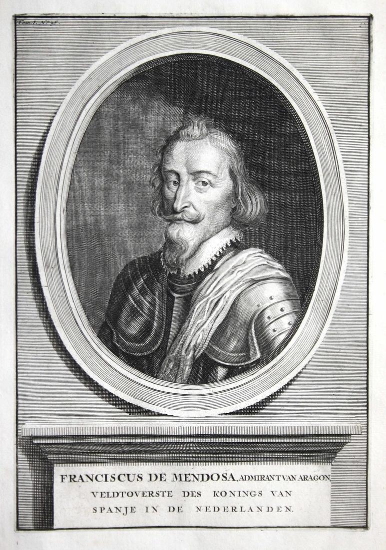 Franciscus de Medosa - Francisco de Mondoza Hollans Spain Portrait Kupferstich engraving antique print
