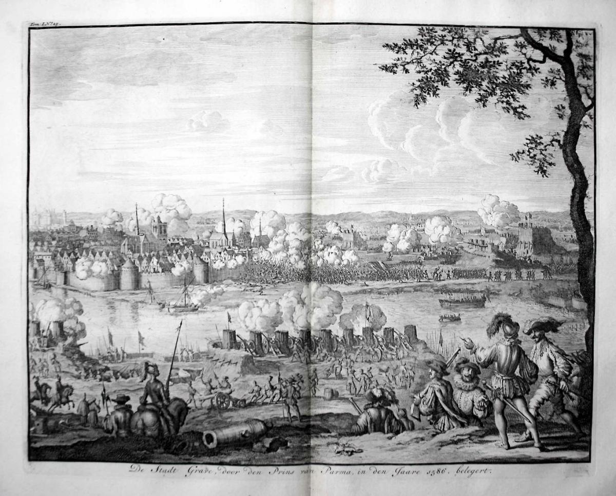 De Stadt Grave, door den Prins van Parma, in den Jaare 1586, belegert - Grave Holland Nederland siege beleg Pr