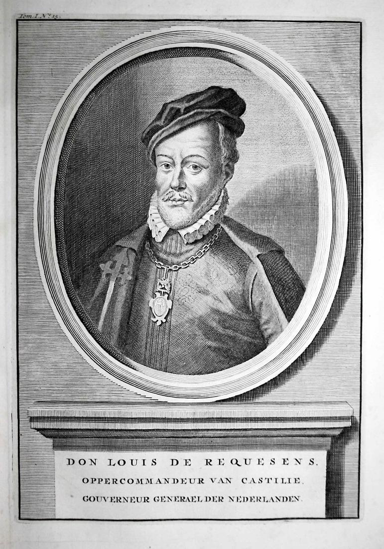 Don Louis de Requesens - Luis de Zuniga y Requesens Statthalter Niederlande Portrait Kupferstich engraving ant