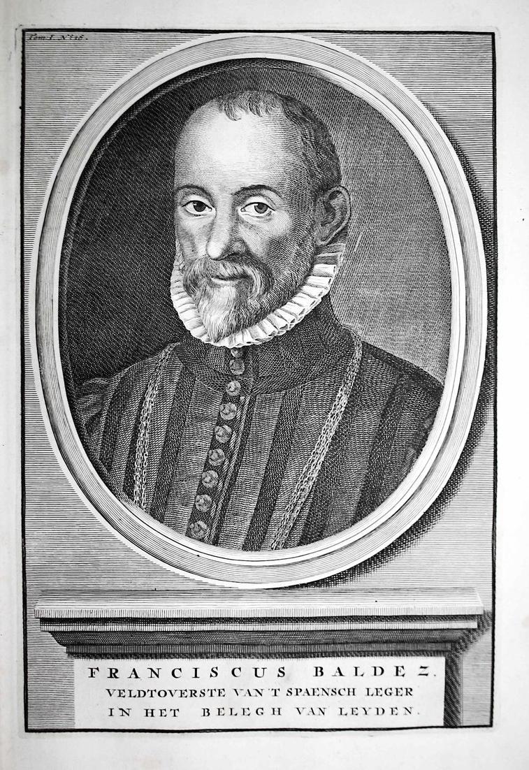 Franciscus Baldez - Francisco de Valdez Holland Leiden Vlaanderen Portrait Kupferstich engraving antique print