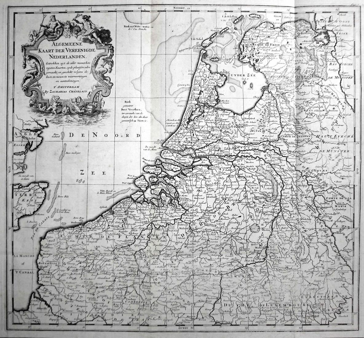Algemeene Kaart der Vereenigde Nederlanden - Nederland Holland Niederlande Netherlands Chatelain map Karte car