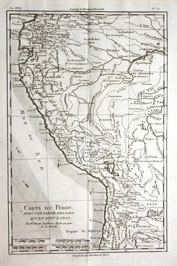 Carte du Perou - Peru South America Südamerika Kupferstich Karte map engraving