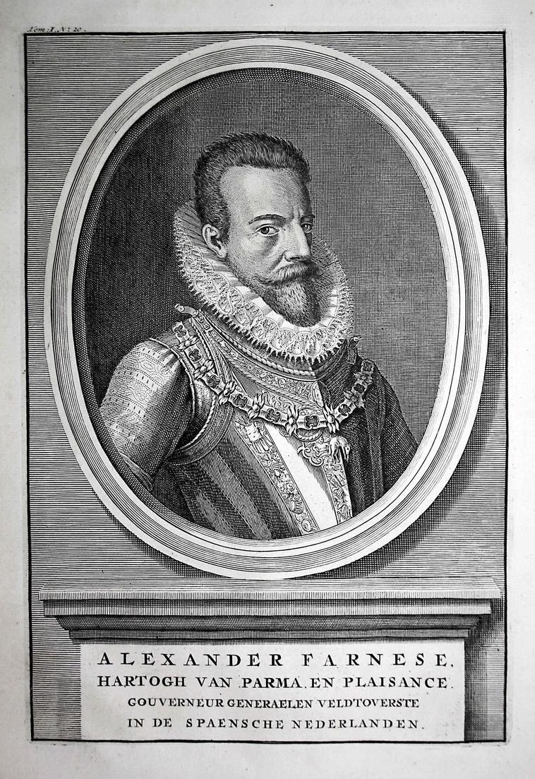 Alexander Farnese - Alessandro Farnese Italia generale soldiert Italy Portrait Kupferstich engraving antique p 0