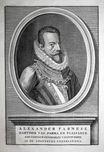 Alexander Farnese - Alessandro Farnese Italia generale soldiert Italy Portrait Kupferstich engraving antique p
