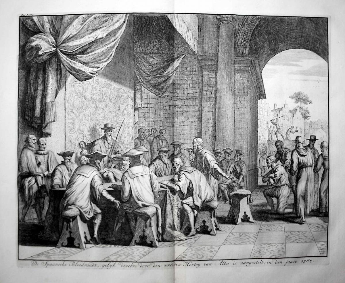 De Spaansche Bloedraadt, gelyk dezelre door den wreeden Hertog van Alba is aangestelt, in den jaare 1567 - Bar 0