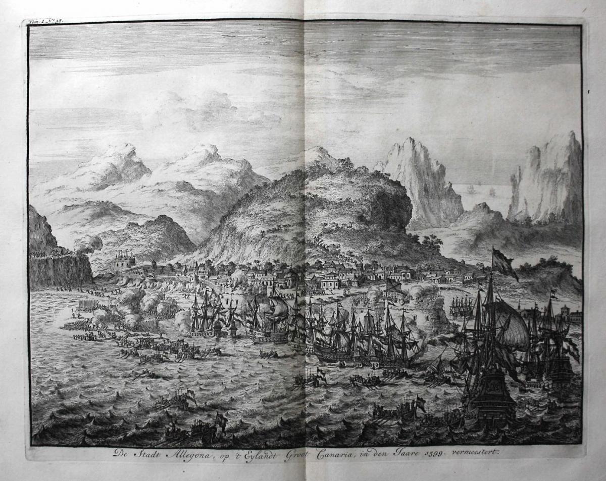 De Stadt Allegona, op 't Eylandt Groot Canaria, in den Jaare 1599. vermeestert - Gran Canaria Las Palmas Canar 0