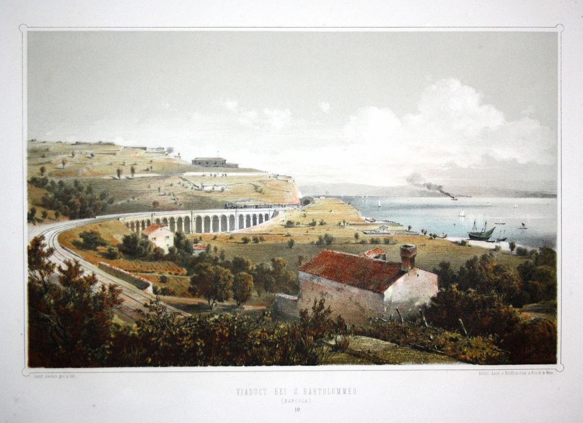 Viaduct bei S. Bartolomeo (Barcola) - San Bartolomeo Barcola Trieste Italia Italy Italien Lithographie Litho a