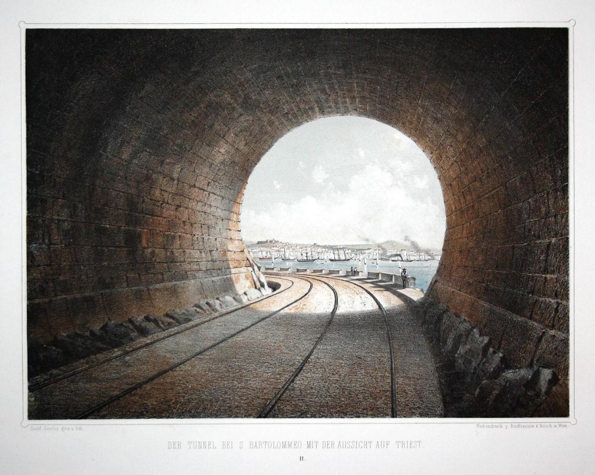 Der Tunnel bei S. Bartolommeo mit der Aussicht auf Triest - San Bartolomeo Trieste Italia Italy Italien Lithog