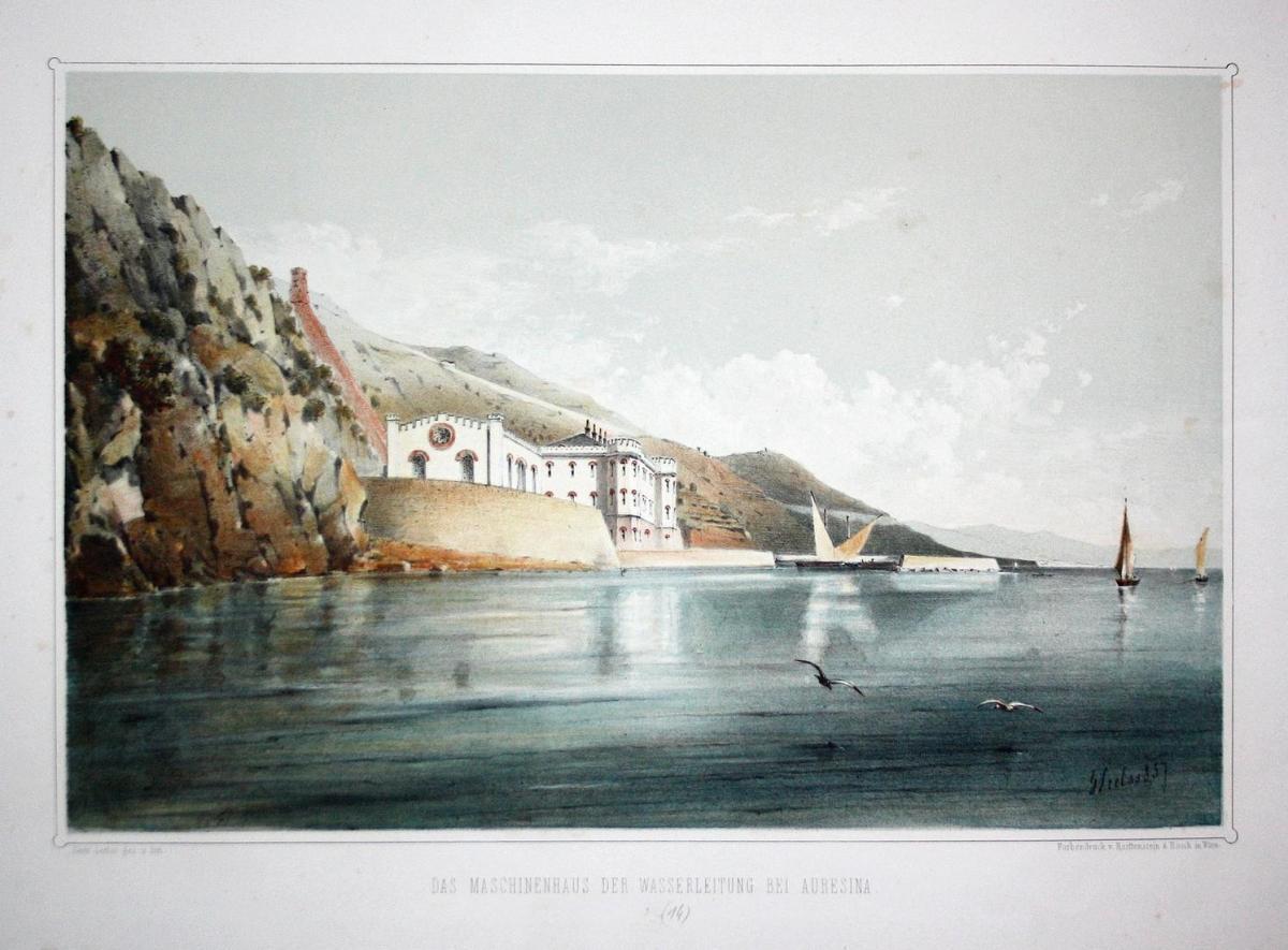 Das Maschinenhaus der Wasserleitung bei Auresina - Auresina Trieste Triest Italia Italy Italien Lithographie L