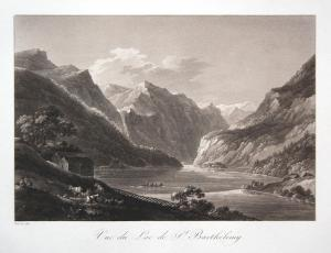 Vue du Lac de St. Barthelemy - St. Bartholomä Königssee Hirschau Rösel Sepia Aquatinta aquatint antique print