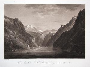 Vue du Lac de St. Barthelemy, a son extremite - Königssee St. Bartholomä Hirschau Rösel Sepia Aquatinta aquati