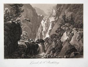Cascade de St. Barthelemy - Königssee Wasserfall St. Bartholomä Rösel Sepia Aquatinta aquatint antique print