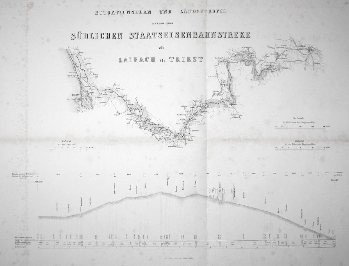 Situationsplan und Längenprofil der kaiserl. königl. Südlichen Staatseisenbahnstreke von Laibach bis Triest -