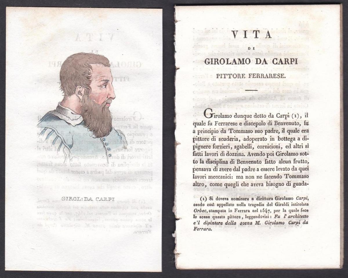 Girol: da Carpi - Girolamo da Carpi Maler painter Italien Italia Portrait Kupferstich copper engraving antique