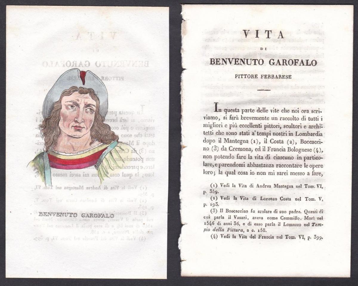 Benvenuto Garofalo - Benvenuto Tisi Garofalo Maler painter Italien Italia Portrait Kupferstich copper engravin