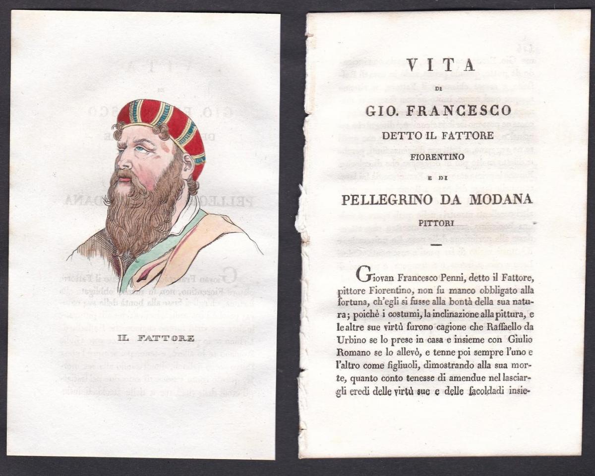 Il Fattore - Giovanni Francesco Penni Maler painter Italien Italia Portrait Kupferstich copper engraving antiq